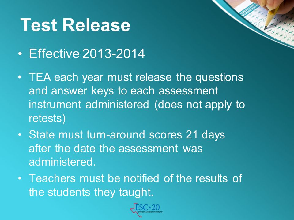 Test Release Effective 2013-2014