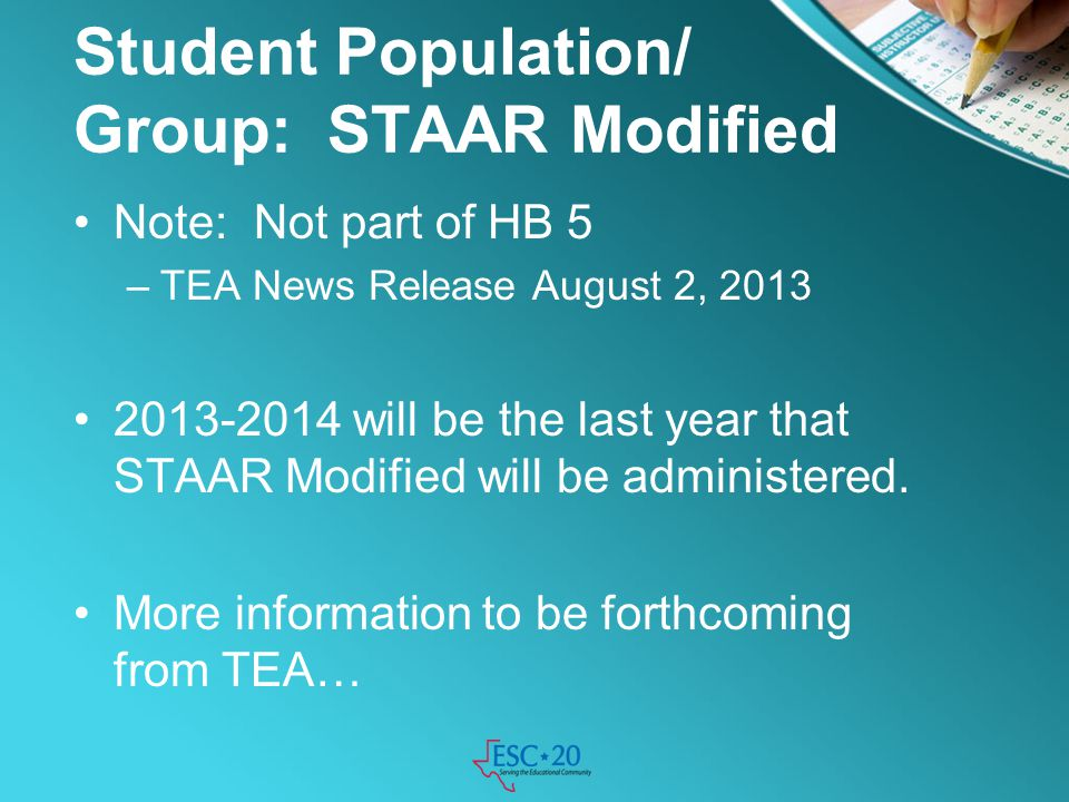 Student Population/ Group: STAAR Modified