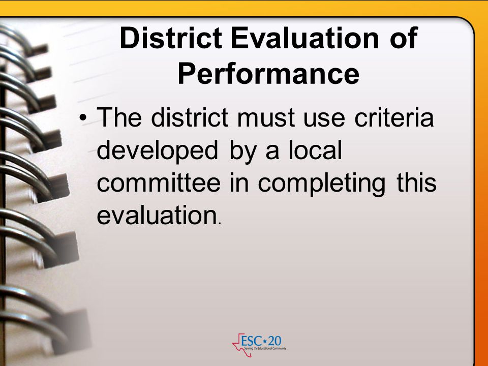 District Evaluation of Performance