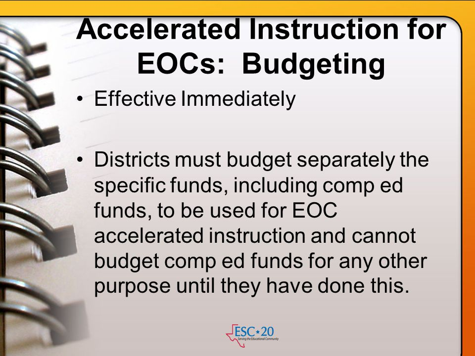 Accelerated Instruction for EOCs: Budgeting