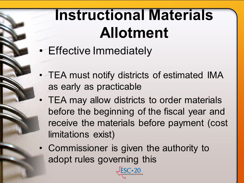 Instructional Materials Allotment