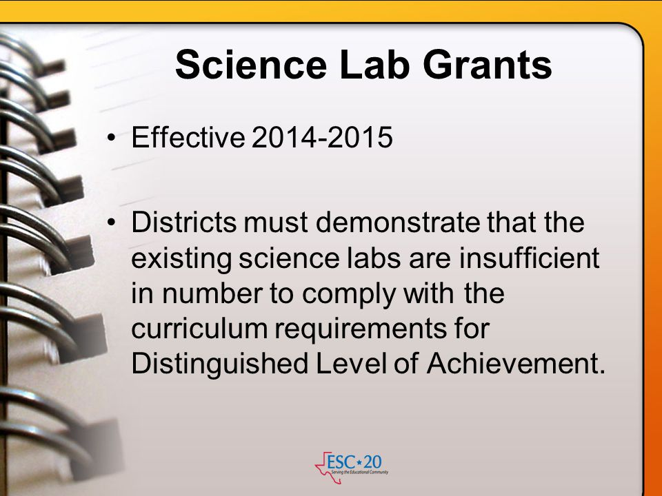 Science Lab Grants Effective 2014-2015
