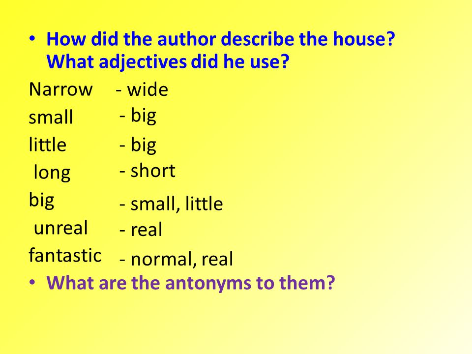 How did the author describe the house What adjectives did he use