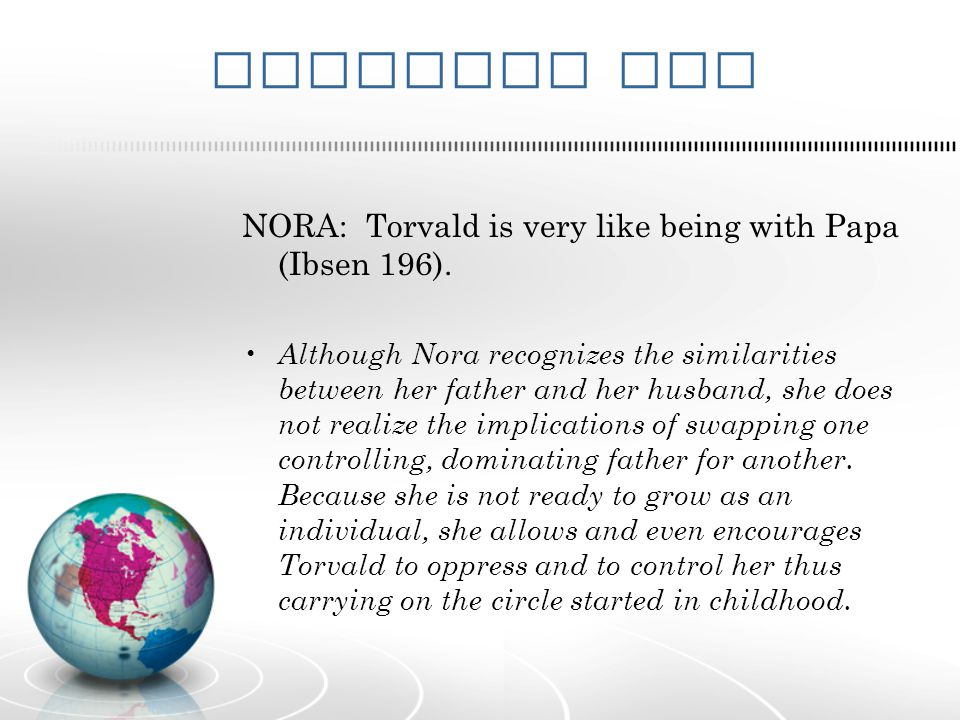 Evidence One NORA: Torvald is very like being with Papa (Ibsen 196).