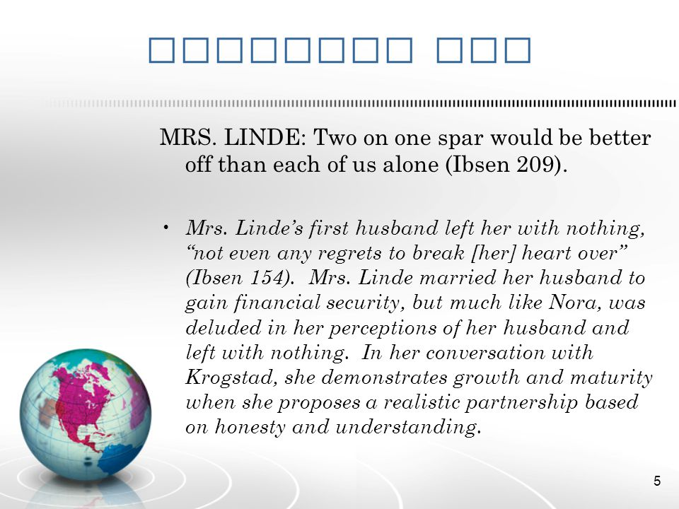 Evidence Two MRS. LINDE: Two on one spar would be better off than each of us alone (Ibsen 209).