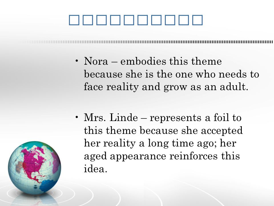 Characters Nora – embodies this theme because she is the one who needs to face reality and grow as an adult.