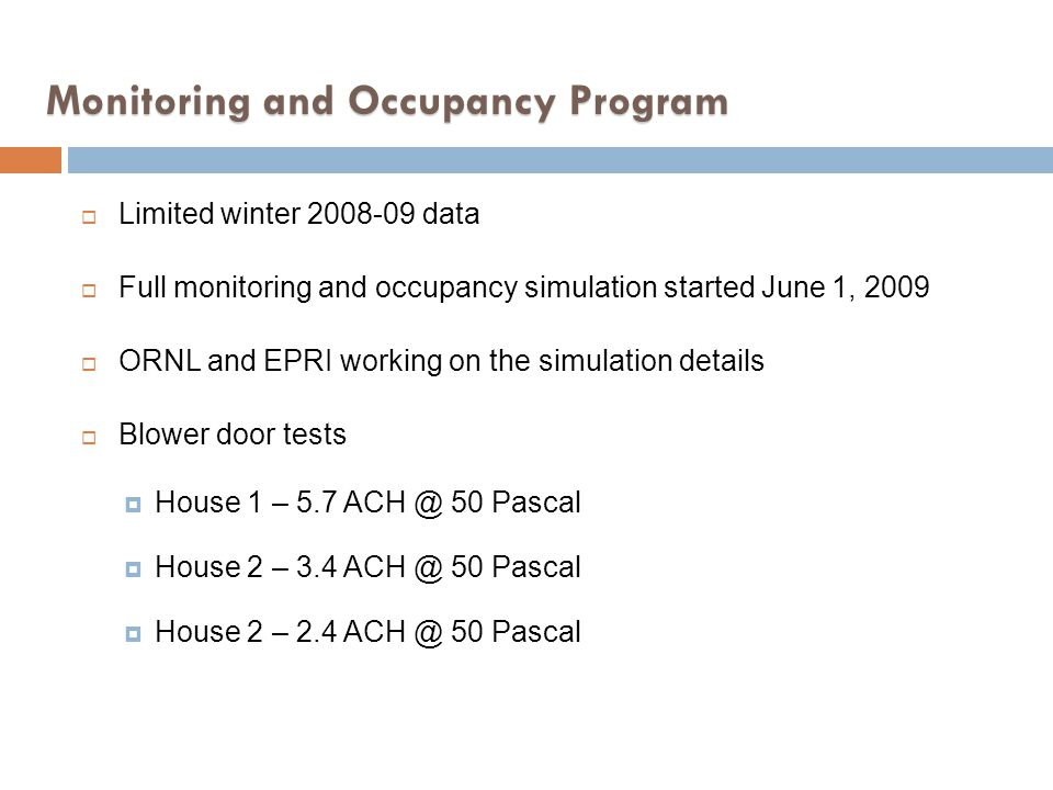 Monitoring and Occupancy Program