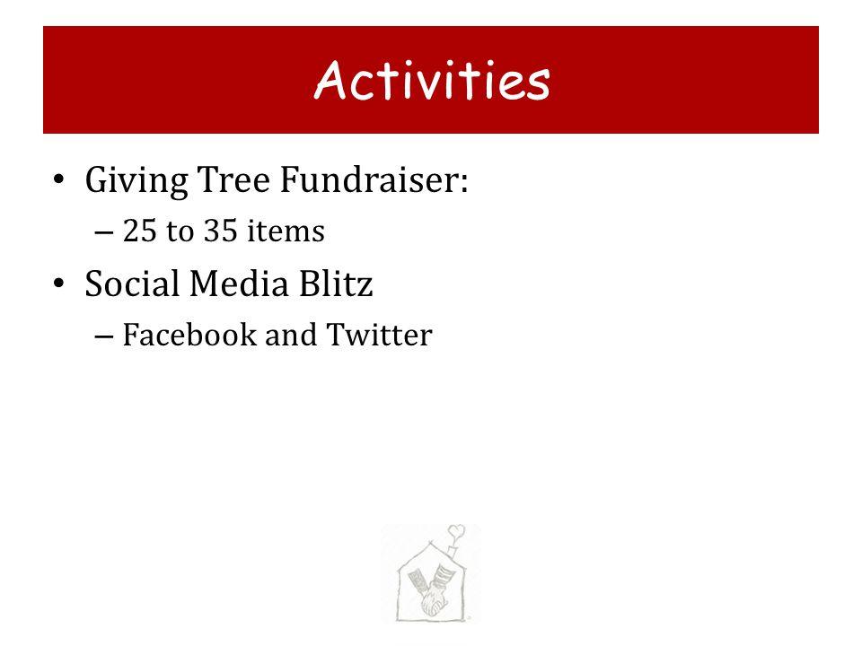 Activities Giving Tree Fundraiser: Social Media Blitz 25 to 35 items