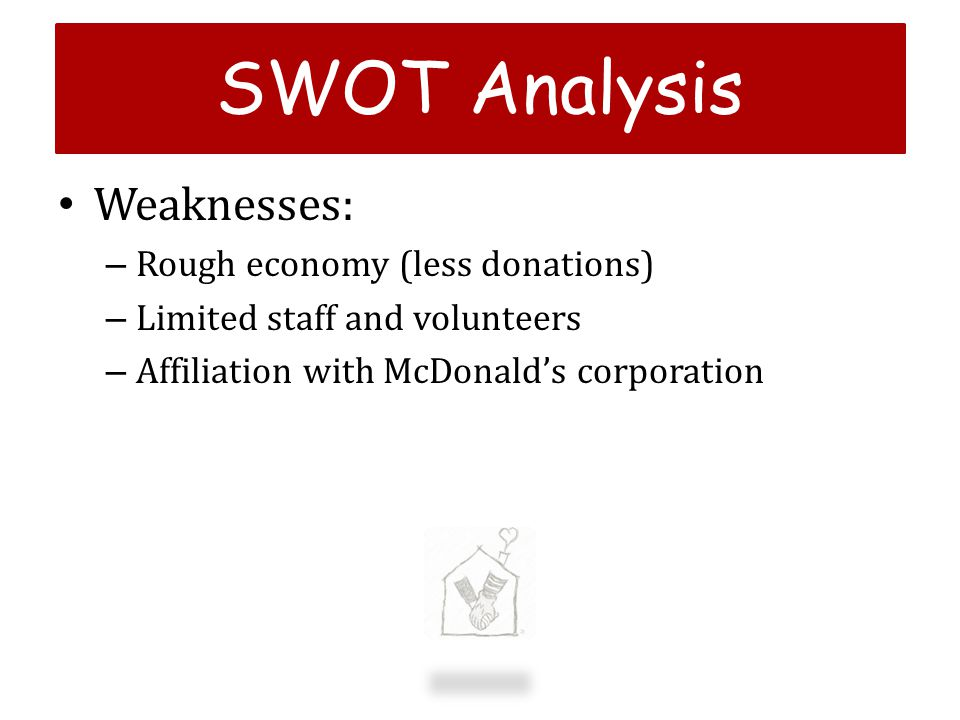 SWOT Analysis Weaknesses: Rough economy (less donations)