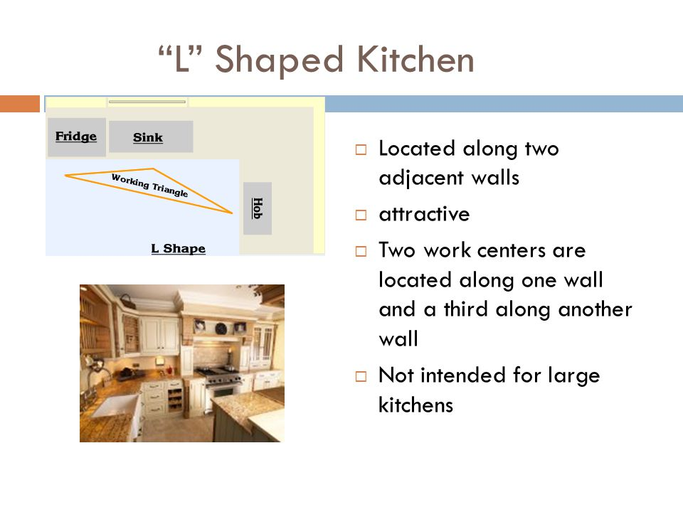 L Shaped Kitchen Located along two adjacent walls attractive