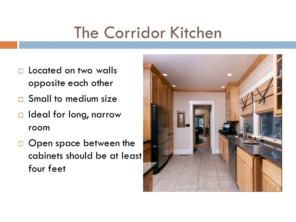 The Corridor Kitchen Located on two walls opposite each other