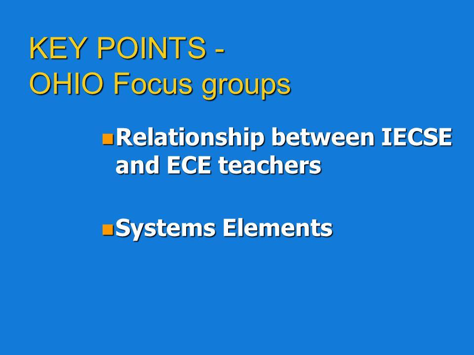KEY POINTS - OHIO Focus groups