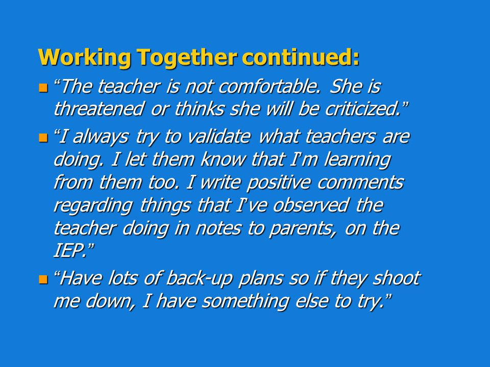 Working Together continued: