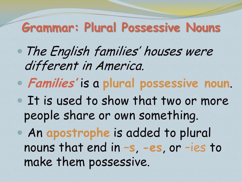 Grammar: Plural Possessive Nouns
