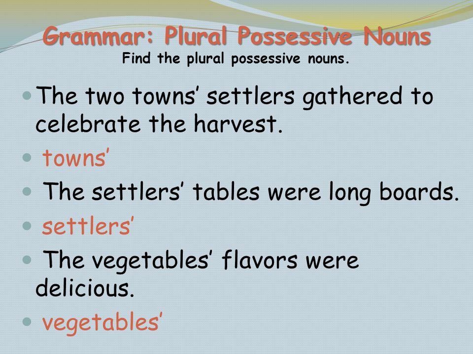 Grammar: Plural Possessive Nouns Find the plural possessive nouns.