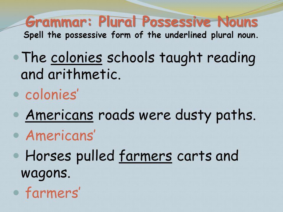 Grammar: Plural Possessive Nouns Spell the possessive form of the underlined plural noun.