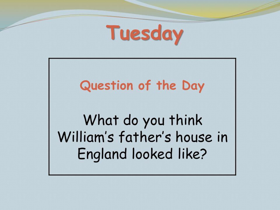 What do you think William's father's house in England looked like
