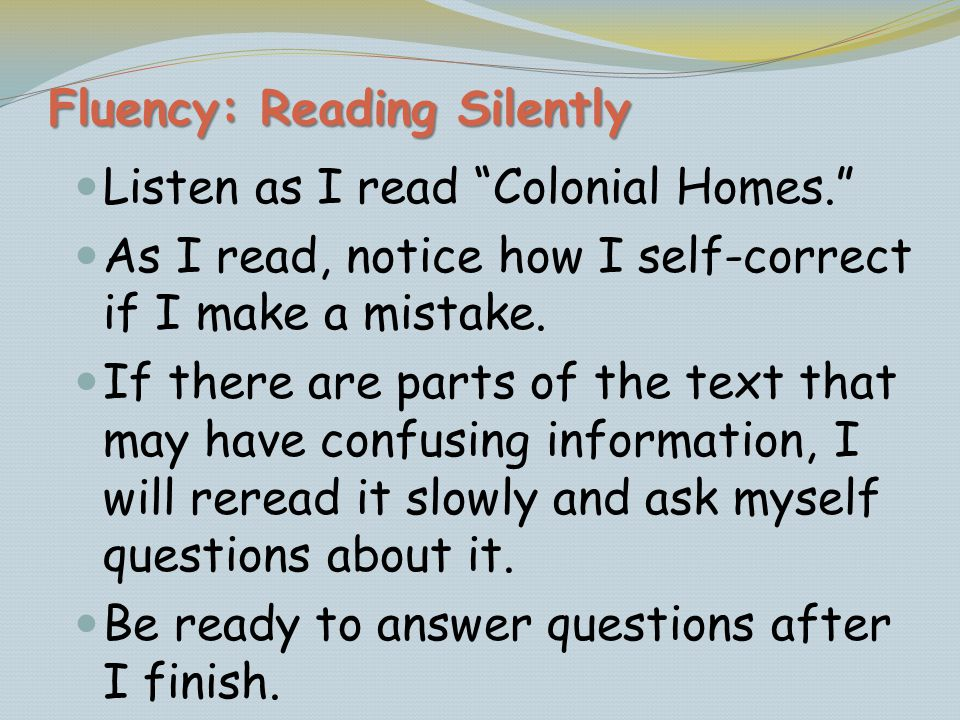Fluency: Reading Silently