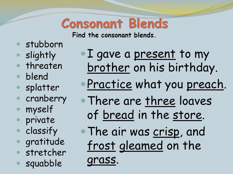 Consonant Blends Find the consonant blends.