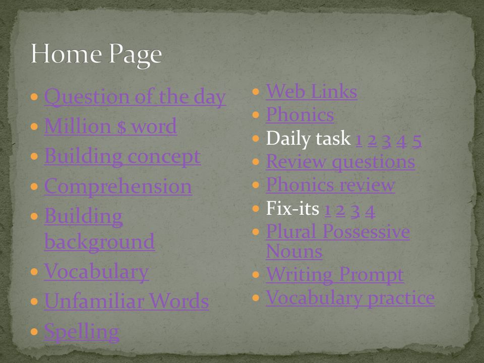 Home Page Question of the day Million $ word Building concept