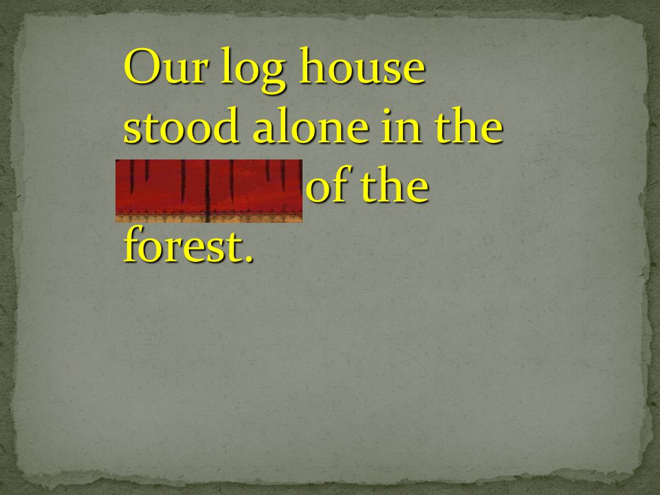 Our log house stood alone in the clearing of the forest.