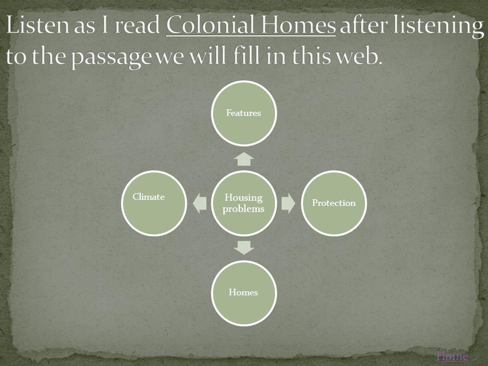 Listen as I read Colonial Homes after listening to the passage we will fill in this web.