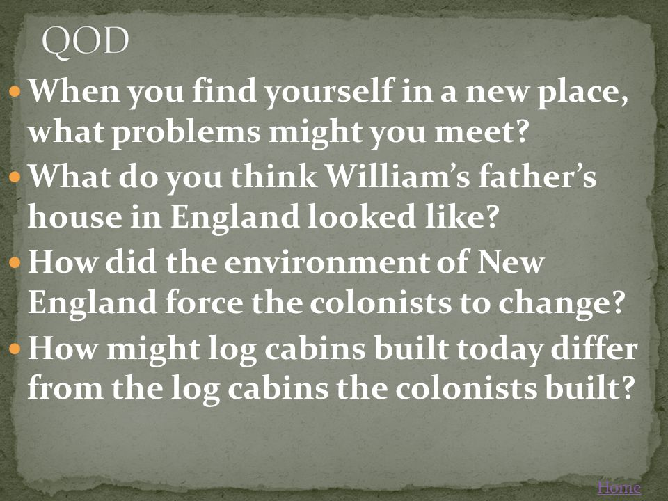 QOD When you find yourself in a new place, what problems might you meet What do you think William's father's house in England looked like