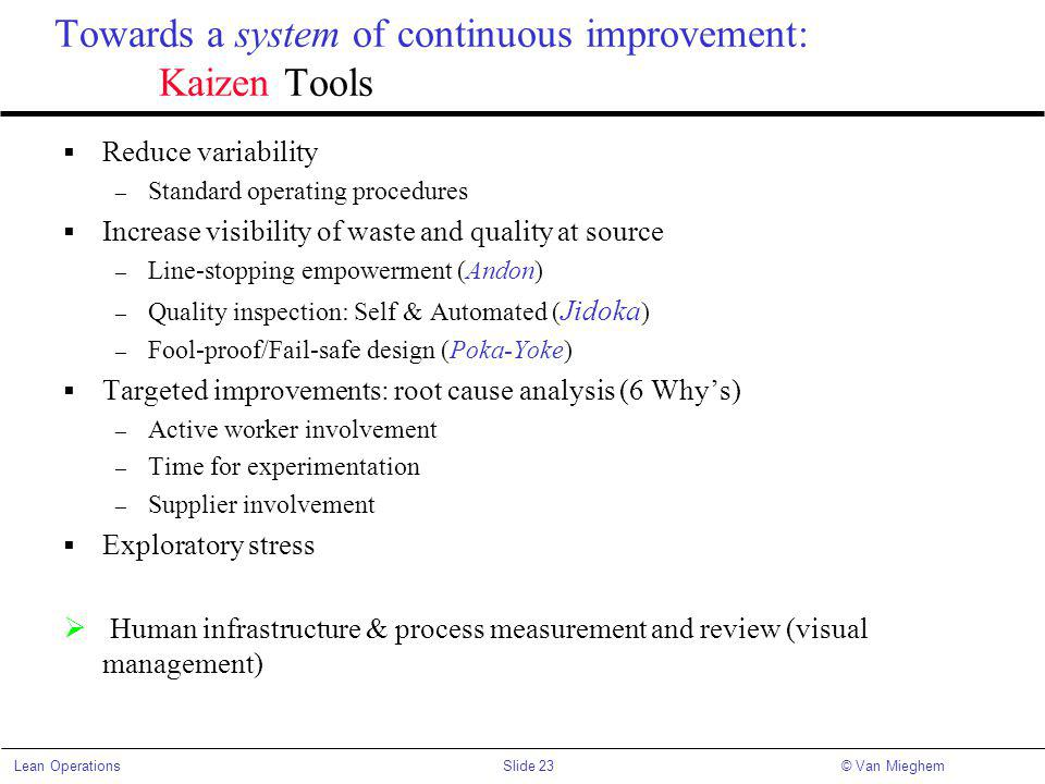 Towards a system of continuous improvement: Kaizen Tools