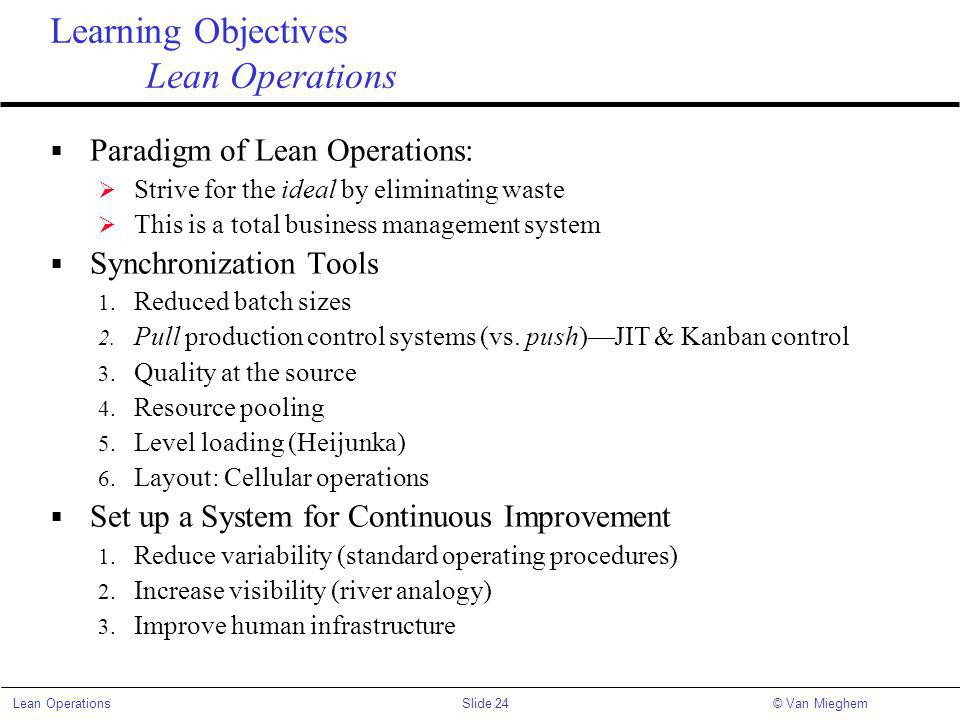 Learning Objectives Lean Operations