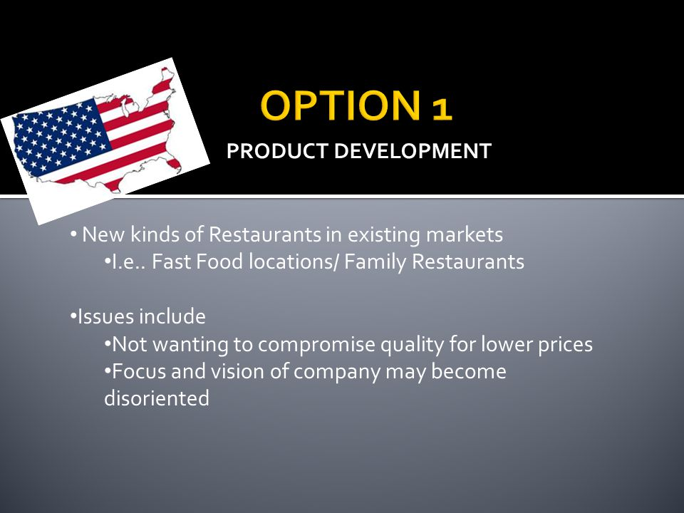 OPTION 1 PRODUCT DEVELOPMENT