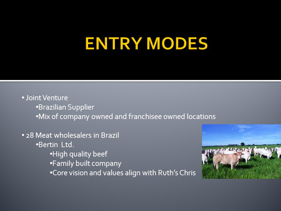 ENTRY MODES Joint Venture Brazilian Supplier