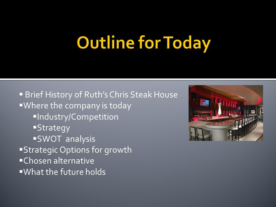 ruth s chris international expansion This section contains two cases on international marketing issues – ruth's chris steak house (market attractiveness) and stella artois (global brand management) 6.