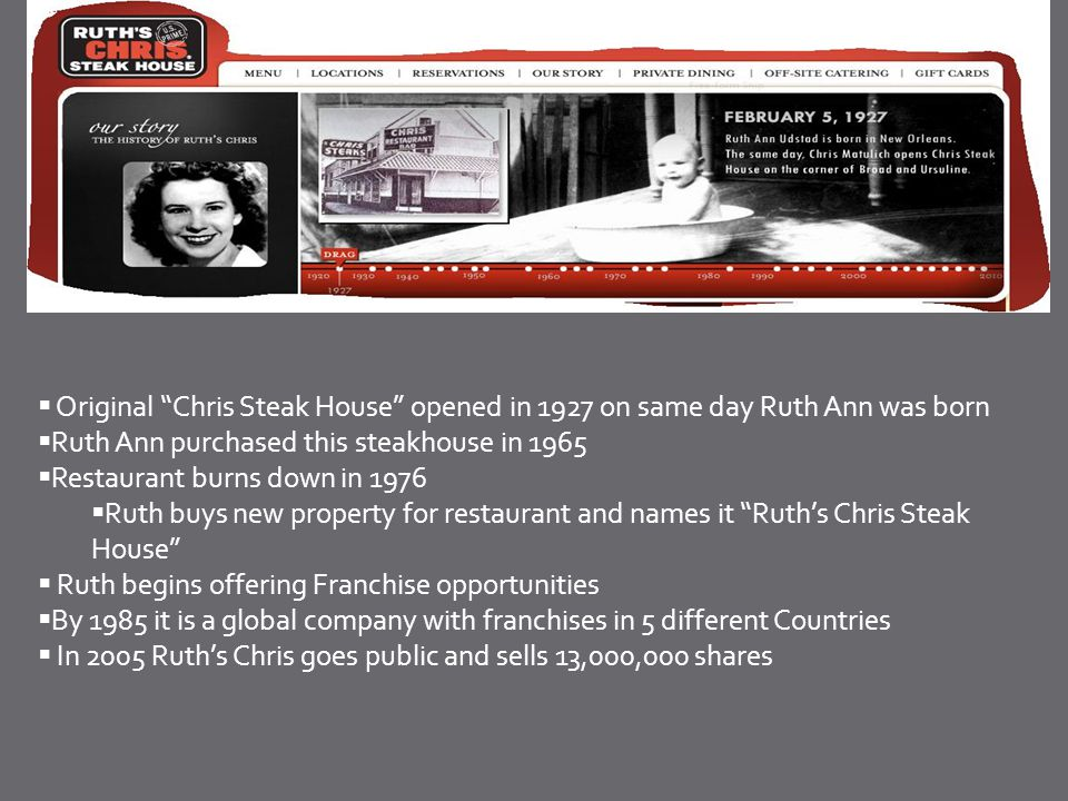 Original Chris Steak House opened in 1927 on same day Ruth Ann was born