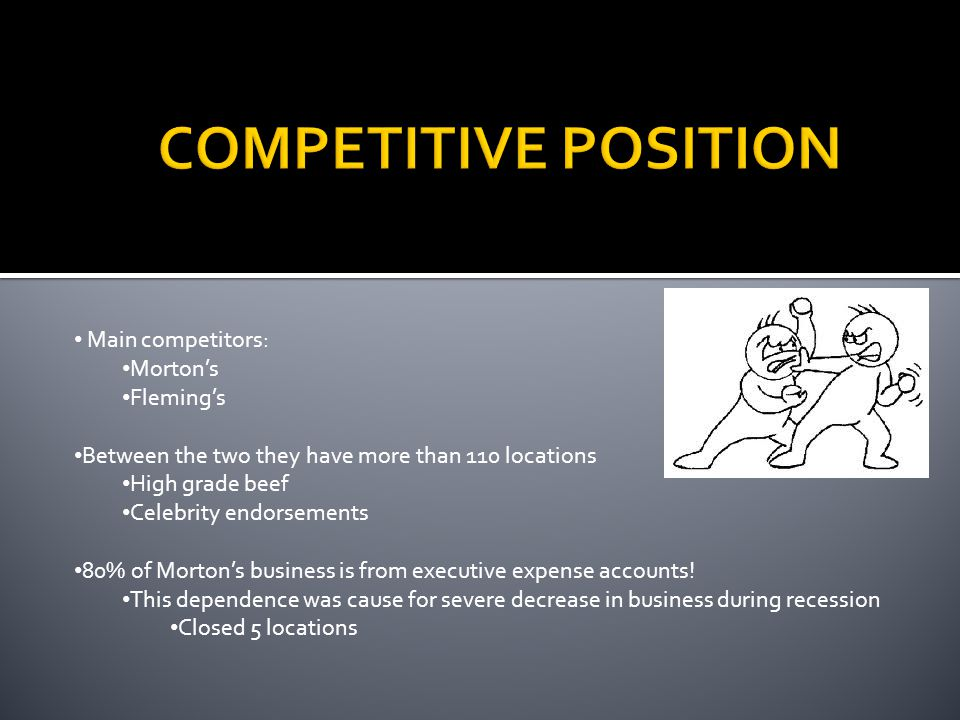 COMPETITIVE POSITION Main competitors: Morton's Fleming's