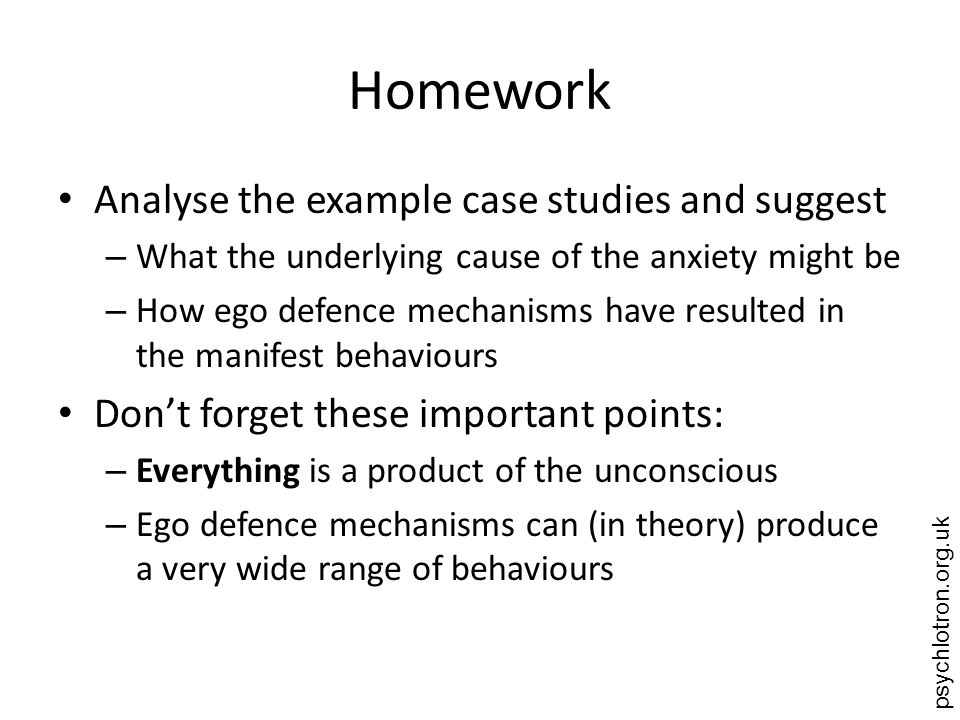 Homework Analyse the example case studies and suggest