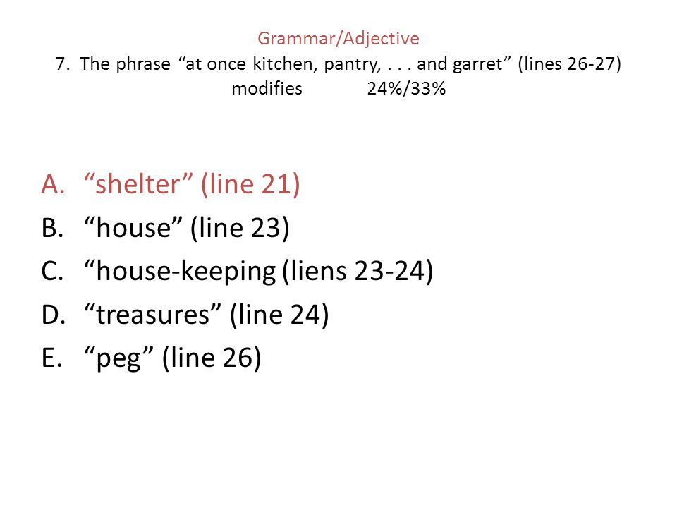 house-keeping (liens 23-24) treasures (line 24) peg (line 26)
