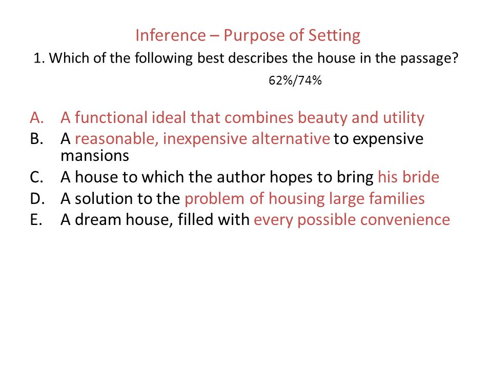 Inference – Purpose of Setting 1