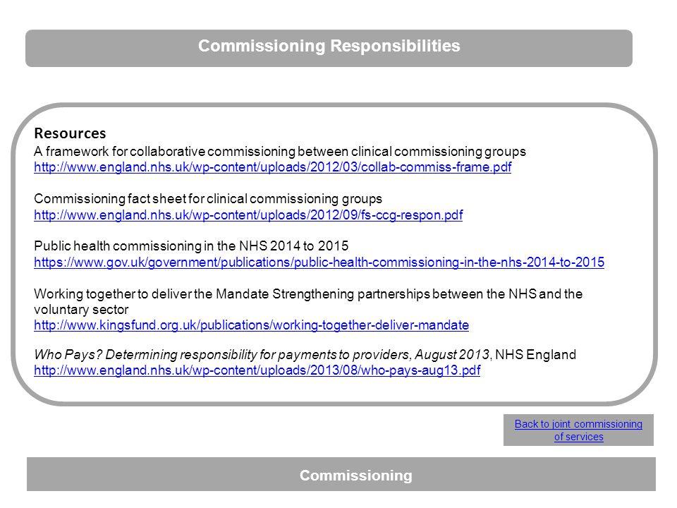 Commissioning Responsibilities