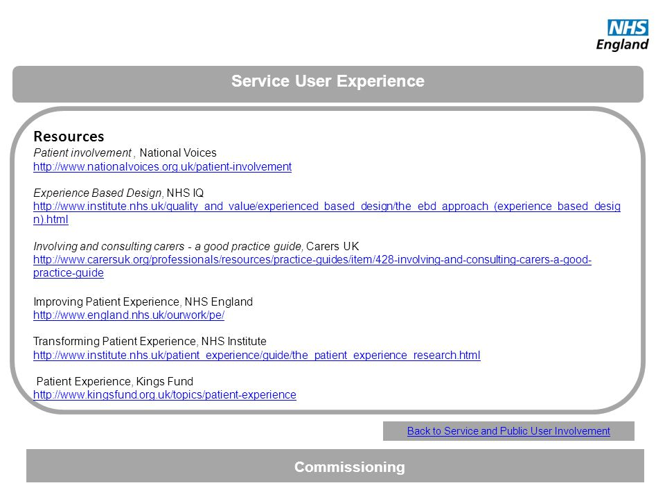 Service User Experience
