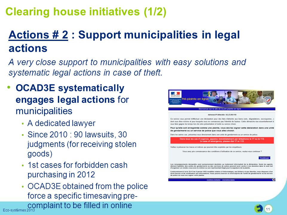 Clearing house initiatives (1/2)