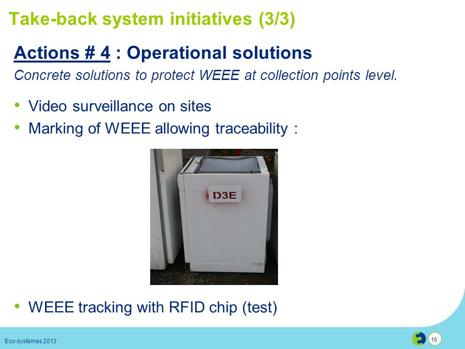 Take-back system initiatives (3/3)