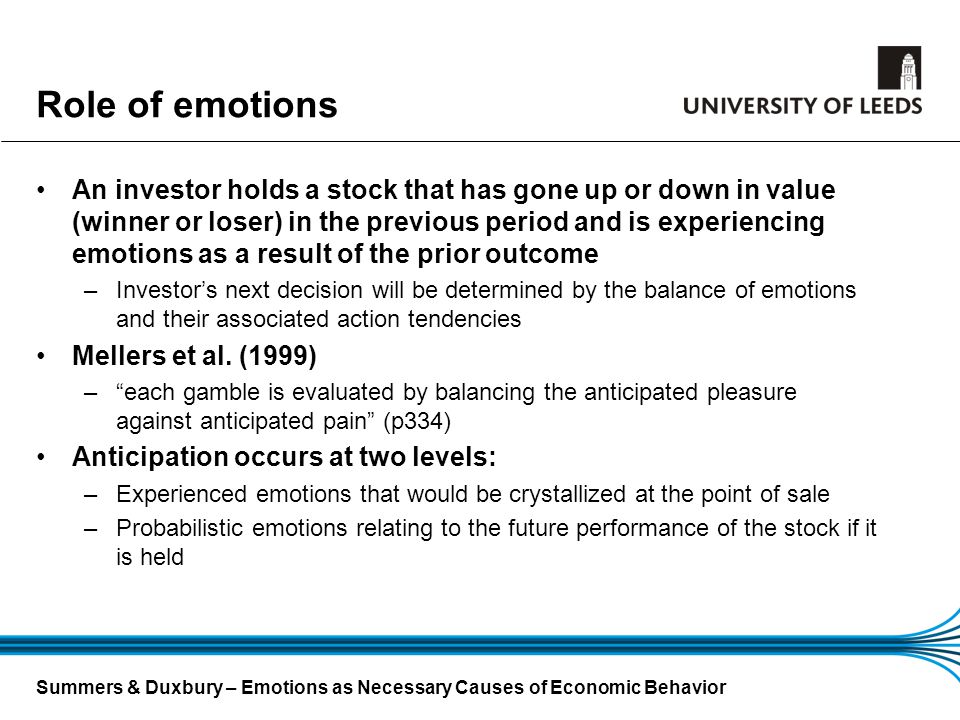 Role of emotions