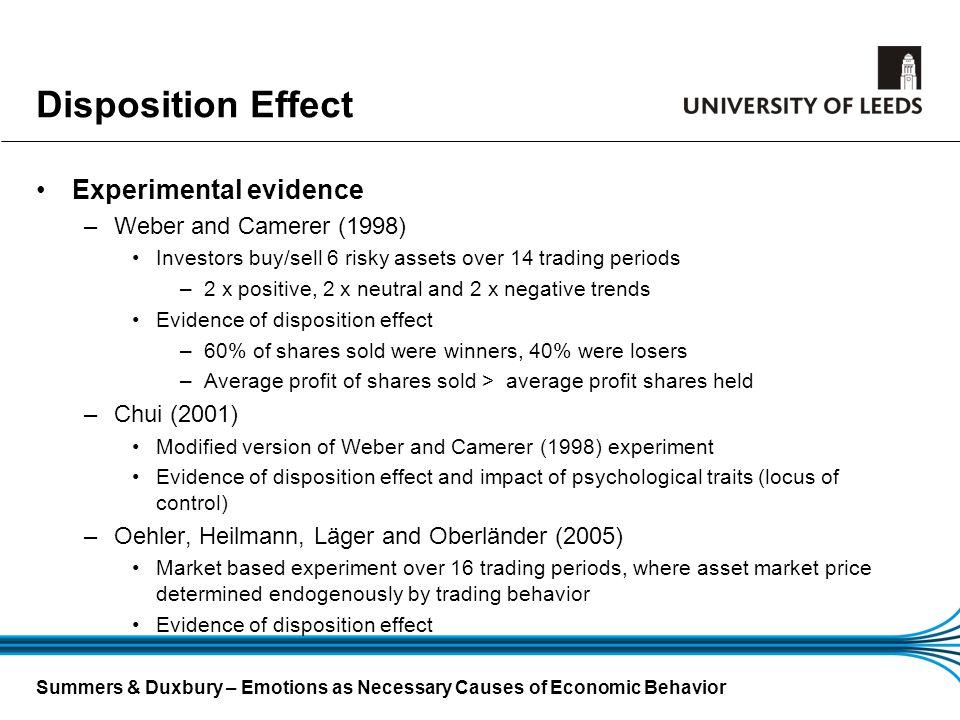 Disposition Effect Experimental evidence Weber and Camerer (1998)