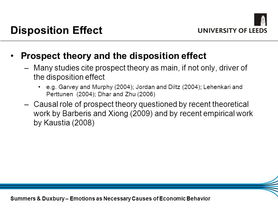 Disposition Effect Prospect theory and the disposition effect