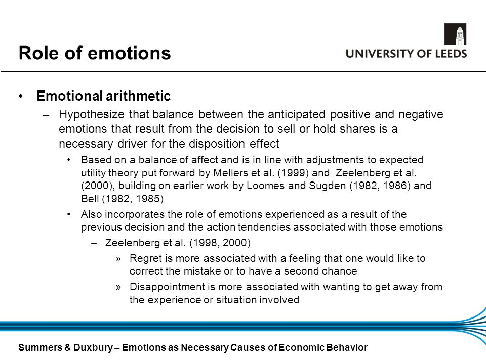 Role of emotions Emotional arithmetic