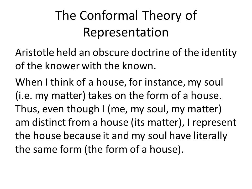The Conformal Theory of Representation