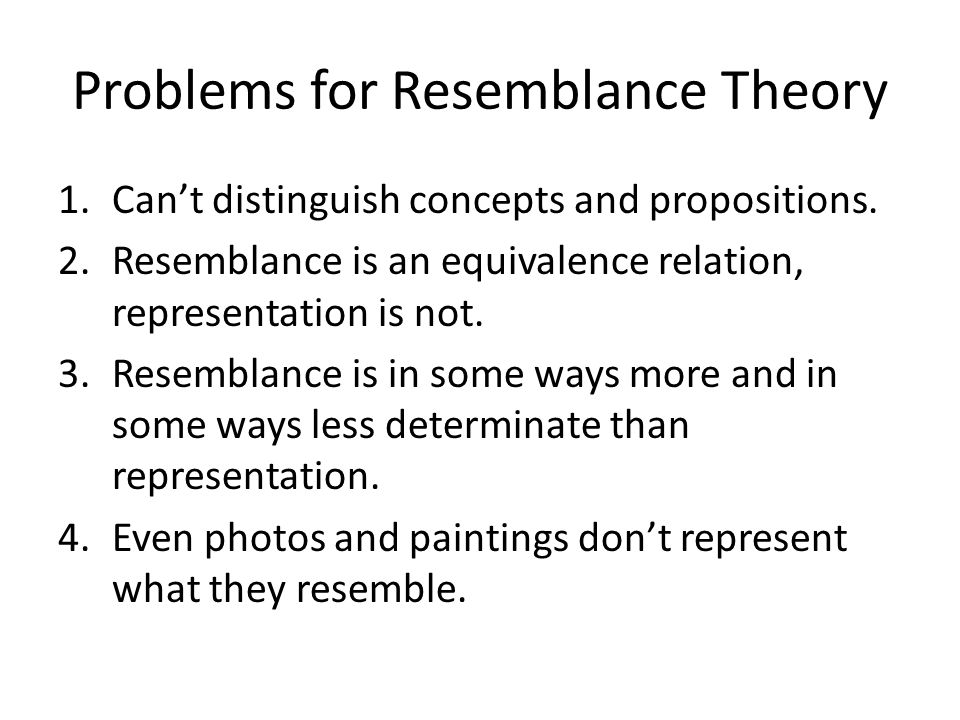 Problems for Resemblance Theory