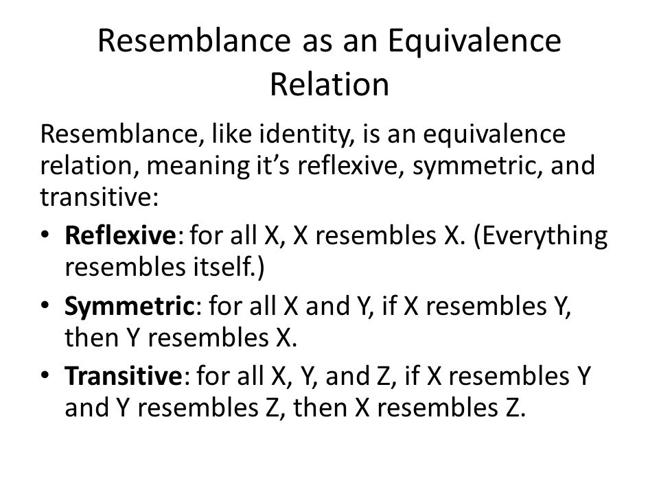 Resemblance as an Equivalence Relation