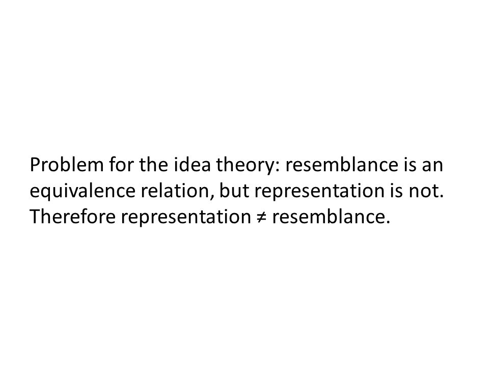 Problem for the idea theory: resemblance is an equivalence relation, but representation is not.