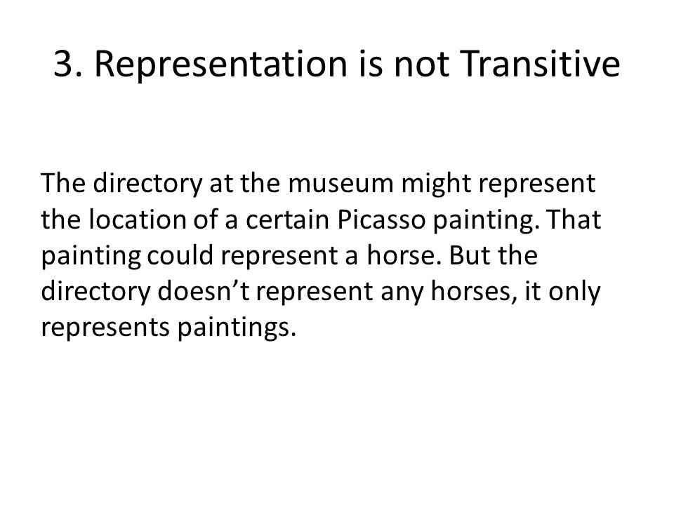 3. Representation is not Transitive